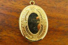 Etched Monogram Locket Pendant charm Vintage gold filled Antique 1950's 1960's