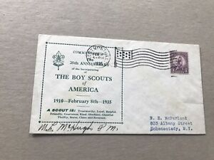 US 1935 Event Cover +Boy Scouts + BSA 25th Anniv Cachet +Scarce +Signed by PM
