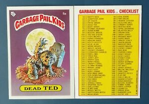 Dead Ted 5a UK Garbage Pail Kids Series 1(1985)Checklist~NMT/MINT~Pack Fresh