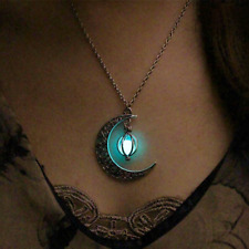 Glow In The Dark Long Luminous Moon  Necklace Hollow Moon Pendant sexy