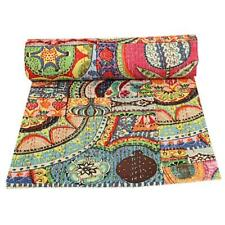 Vintage Handmade Kantha Quilt Throw Bedspread Cotton Multi Patchwork Blanket Art