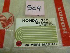Honda 250 Scrambler CL CL72 Used Original Owners Drivers Manual #VP-MAN504