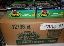 1991 Stadium Club Football Case 12 Boxes - Favre RC - Factory Sealed Case - Rare