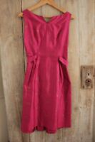 Dress pink raw silk brocade Vintage French 1960's with gold pattern small size