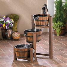 Vintage Style Cascading Apple Barrels Garden Fountain Indoor Décor Outdoor Patio