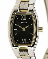 BRAND NEW LADIES PULSAR WATCH PEGE66 TWO TONE BLACK DIAL $135