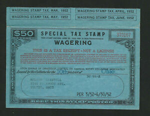 US Revenue Special Tax Stamp WAGERING FYE 1952 $50 Blue, 4 Coupons, Toledo OH
