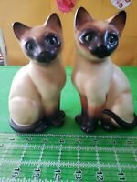 2 Matching Pair Vintage Napcoware Siamese Cats