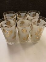 Vintage Mid Century Set Of 6 Glasses Libbey White Frosted With Gold Roses