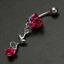 Belly Button Ring Body Piercing Jewellery Rose Red Flower Stainless Steel Navel