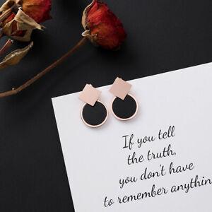 fashion geometric round square earrings small simple black earring