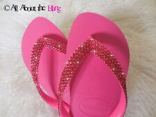 Havaianas flip flops or wedge with 450-500 Swarovski Crystals Rhinestones Pink