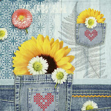 4x Denim Sunflower Paper Napkins for Decoupage Decopatch Craft