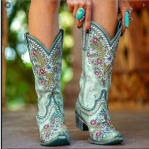 Womens PU Leather Floral Embroidered Studs Mid Calf Cowboy Boots Outwear Shoes