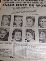 T1-6 Ephemera 1958 1 Page Actress Ingrid Bergman Contest