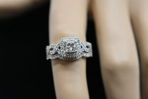 Neil Lane 14K White Gold Princess Cut Diamond Halo Braided Band Engagement Ring