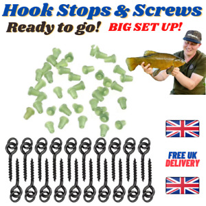 Hook STOPS + SCREWS - Rubber Shank Beads Carp Fishing - Pop Up Baits and Rigs UK