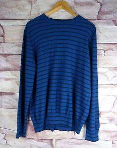 PAUL SMITH men's blue striped merino wool jumper XL