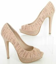 WOMENS SIZE 3.5 DUSKY PINK SPARKLY DIAMANTE PEEPTOES COURT SHOES HEELS