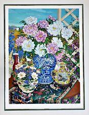 "JOHN POWELL Original Limited Edition 13-Color SERIGRAPH Peonies 1988 ""26/60"""