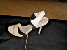 Kenneth Cole Reaction 3.5'' Heels Sandals Sz 6.5 M Black/Beige Patent Leather