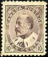 Canada #93 mint VF OG HR DG 1903 King Edward VII 10c brown lilac CV$800.00