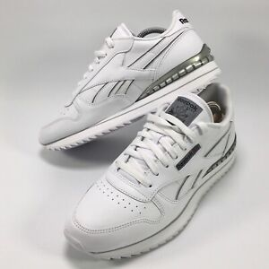 Reebok Classic Leather Mens Trainers Running Shoe UK Size 10 White Silver