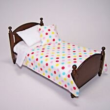 Dolls House Bedding Set -1/12 Handmade - Single Bed size - Multicolour Spot on w
