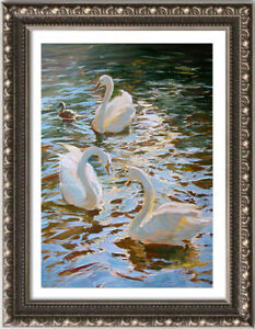 "Hand-painted Original Oil Painting art Animals knife swan on canvas 24""x36"""