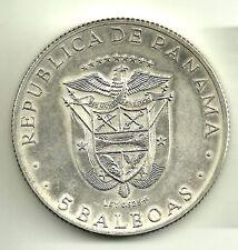 PANAMÁ. 5 BALBOAS. 1970. PLATA SILVER SILBER