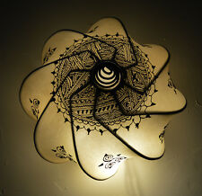 Henna Moroccan Ceiling Light Fixture Goat Skin Handmade Fancy Home Decor Beige