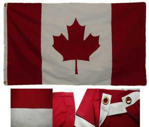 3x5 Embroidered Canada Country Premium Quality 100% Cotton Flag 3'x5' Clips