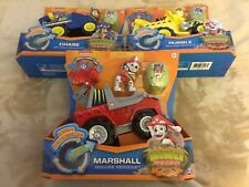 PAW PATROL Deluxe Rev Up Vehicle (Lot of 3): Rubble;Chase;Marshall, Dino Rescue