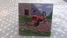 Tractor Farm Scene Decorative Ceramic Picture Tile Hanging Wall Plaque 8 x 8 NEW