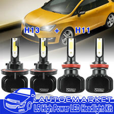 H13 + H11 H8 COB LED Headlight For 2009-2017 Mini Cooper 2015-2017 Jeep Renegade