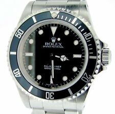 Mens Rolex Stainless Steel Submariner No Date Sub Watch Black Dial & Bezel 14060