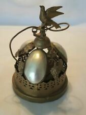 Original Antique Victorian Mother Of Pearl Spring Loaded Bell With Bird