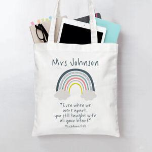 Personalised tote bag teacher gift rainbow taught heart lockdown 2021