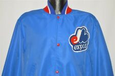vtg 80s MONTREAL EXPOS LOGO SNAP UP WIND BREAKER SATIN STYLE BASEBALL JACKET S