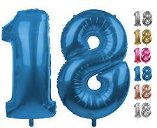 Zahlenballon Nummer 18 blau 86 cm - 100cm  Folienballon Geburtstag xxl Zahl