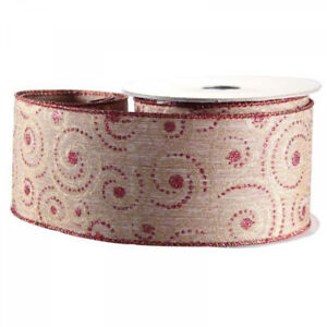 Luxury Natural Gold & Red Swirl Christmas Ribbon - 1m length
