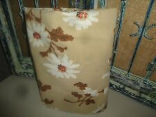 St. Mary'S Brown Tan & White Asian Floral (1) Long Queen Flat Sheet 90 X 110