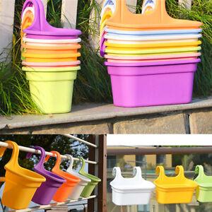 S/L Fence Balcony Railing Hanging Flower Pot Planter Plant Pots Garden Plastic