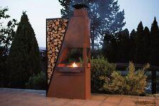 Kaminofen Grill Holzlege  Terrassenofen Edelrost Barbecue Feuerstelle Ferrum0
