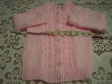 Hand knitted pink round neck cardigan 22 inch chest