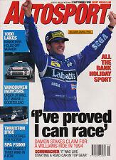 Autosport 2 Sept 1993 - Spa F3000, Belgian GP, Thruxton BTCC, MG RV8, Mansell.