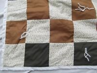 small patchwork quilt throw brown calico tie 48in x 67in single twin bed topper