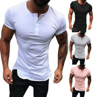 Men Short Sleeve T-shirt Top Solid O Neck Muscle Button Casual Basic Tee S-3XL