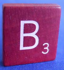 Scrabble Tiles Replacement Letter B Maroon Burgundy Wooden Craft Game Part Piece