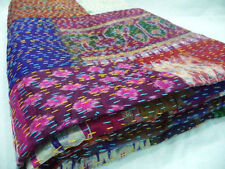 Indian Vintage Ikat Silk Handmade Kantha Patchwork Blanket Bed Spread King Size